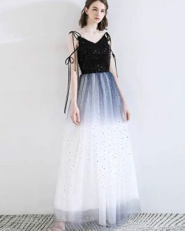 Prom V Neck A Line Sleeveless Floor Length Sequins Pageant Dresses
