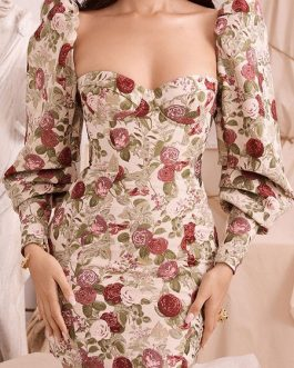 Puff Sleeves Backless Floral Bodycon Dress