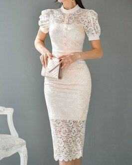 Puff Sleeves Button Lace Bodycon Dress