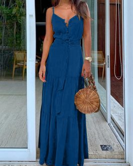 Pure Color Straps Sleeveless Belt Button Maxi Dress