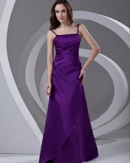 Satin Beading Floor-Length Bridesmaid Dress For Wedding