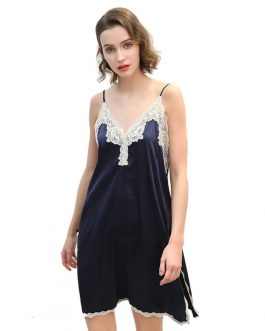 Satin Faux Silk Sexy Lace Sleeveless V-neck Nightgown