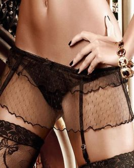 Semi-Sheer Lace Polyester Garter Belts