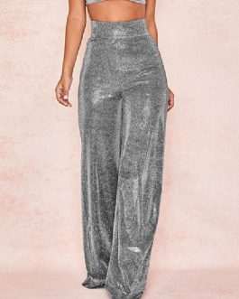 Sequin Bell Bottom Pants 70s High Waist Stretchy Flare Pants