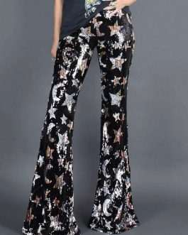 70s Sequin Bell Bottom Casual Polyester Waist Flare Pants