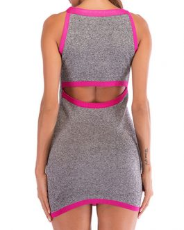 Sexy Bodycon Sleeveless Two Tone Cut Out Pencil Dress