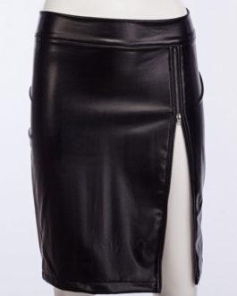 Sexy Bodyocn Zipper Lace Leather Like Mini Skirt