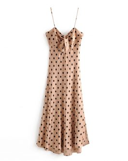 Sexy Bow Polka Dot Strapless Bodycon Midi Dress