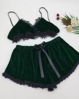 Sexy Chest Pad Velvet Sleeveless Sling and Shorts Sleepwear