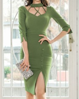 Sexy Cut Out Sleeved Button Bodycon Dress