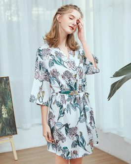 Sexy Floral Silk Satin Printed Nightgown
