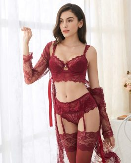 Sexy Lace Robe Panties Stockings Underwear Set