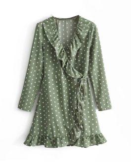 Sexy Ruffles Polka Dot V-neck Split Dress