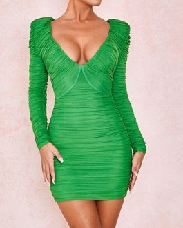 Sexy V Neck Long Sleeves Bodycon Dress
