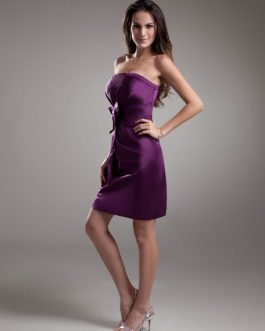 Sheath Grape Satin Bow Strapless Short Bridesmaid Dress For Wedding