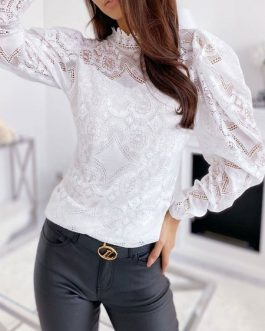 Shirt Cut Out Jewel Neck Sexy Long Sleeves Lace Tops
