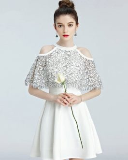 Short Prom Lace Shoulder Cocktail Homecoming Dresses