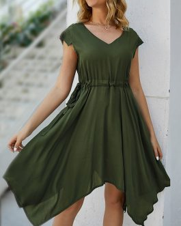 Short Sleeve Drawstring Waist Solid Color Dress