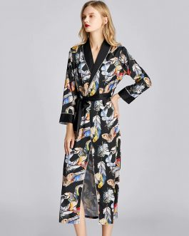 Faux Silk Satin Nightgown Long-sleeved Dressing Gown