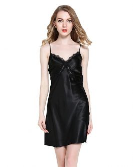 Sleeveless Strap Sexy Lace Faux Silk V-neck Nightgown