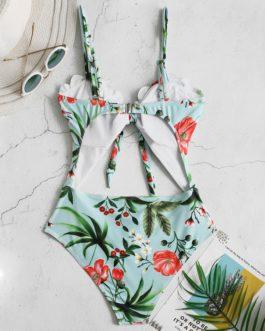 Sling Floral Print See Through Backless High Leg Bikini