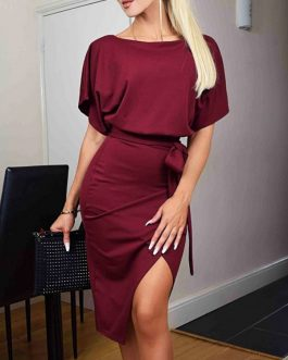 Solid Color Casual Crew Neck Short Sleeve Midi Dress