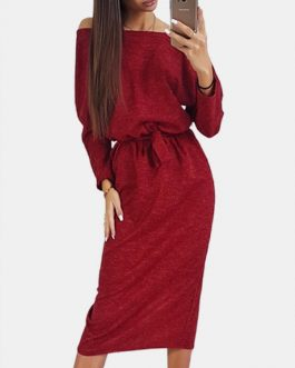 Solid Color Crew Neck Long Sleeve Midi Dress