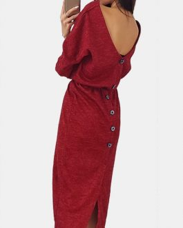 Solid Color Crew Neck Long Sleeve Midi Dress
