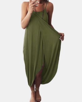 Solid Color Straps Sleeveless Loose Irregular Hem Casual Maxi Dress