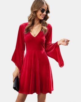 Solid Color V-neck Bell Long Sleeves Mini Dress