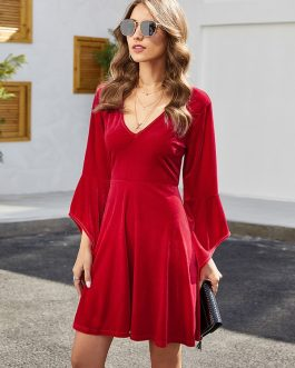 Solid Color V-neck Bell Long Sleeves Mini Dress