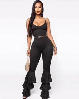 Spaghetti Strap V-neck Club Party Boot Cut Jumpsuits