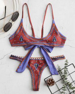 Spaghetti Straps Lace-up Tops With Thongs Bottom Mini Bikini