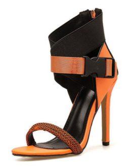 Stiletto Heel Buckle Zip Up Chic Open Toe Sandals