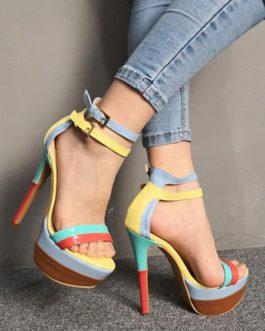 Stiletto Heel Open Toe Color Block Chic Women's Shoes