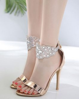 Stiletto Heel Open Toe Rhinestones Chic Sandals Women's Shoes