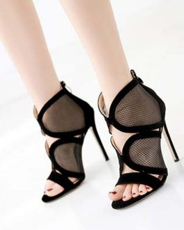Stiletto Heel Open Toe Sandals Nets Clothes Chic Women's Shoes