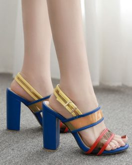 Stiletto Heel Sandals Open Toe Color Block Women's Shoes