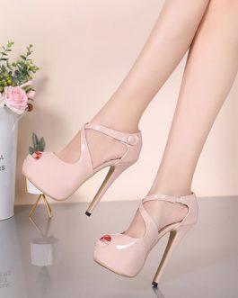 Stiletto Heel Sandals Peep Toe Criss-Cross Women's Shoes