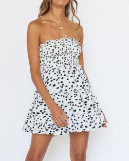 Strapless Cow Printed Polyester Beach Mini Dress