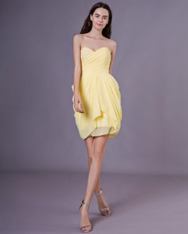 Strapless Ruched Chiffon Bridesmaid Dress