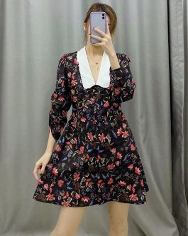 Stylish Half Sleeve Embroidery Floral Short Dress
