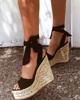 Suede Wedge Sandals Black Peep Toe Ankle Strap Espadrilles