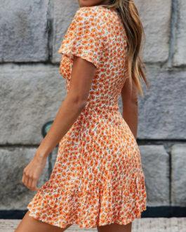 Sunflower V Neck Ditsy Printed Short Sleeve Beach Mini Dress