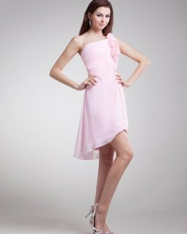 Sweet Floral One-Shoulder Chiffon Short Fashion Bridesmaid Dress