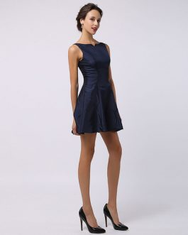 Taffeta Short Bridesmaid Dress With Split Seam Neckline Wedding Guest Dress