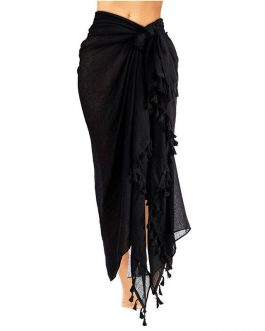 Tassel Wrap Bikini Cover Up Maxi Skirt