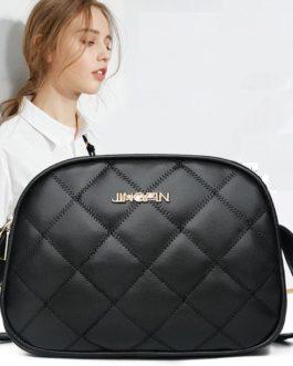 Solid Color Three Layers Lattice Pattern Shoulder Messenger Bag