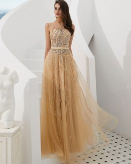 Tulle Sash Beaded Formal Evening Prom Dress
