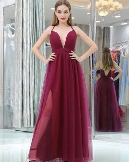 Tulle V Neck A Line Sleeveless Split Front Floor Length Party Prom Dresses